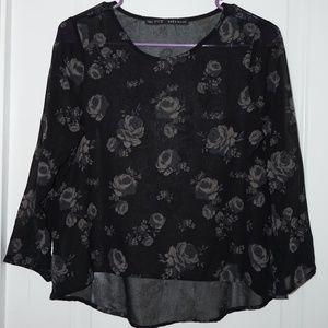 Zara Basic Black Sheer Floral Top 3/4 Sleeve S